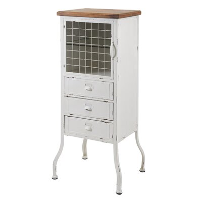 Metal 3 Drawer 1 Door Accent Cabinet