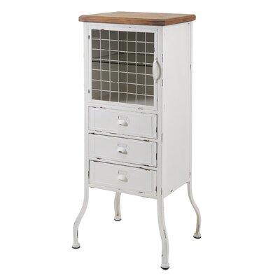 Metal 3 Drawer 1 Door Accent Cabinet