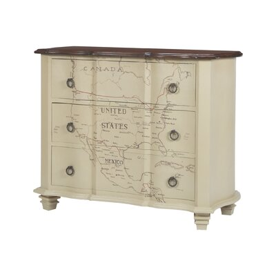 Martina Map of Americas 3 Drawer Chest