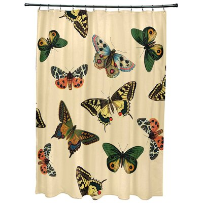 Swan Valley Butterflies Animal Print Shower Curtain Color: Yellow