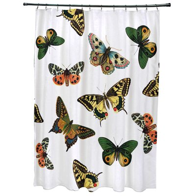 Swan Valley Butterflies Animal Print Shower Curtain Color: White