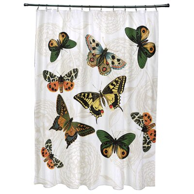 Swan Valley Antique Butterflies Shower Curtain Color: White