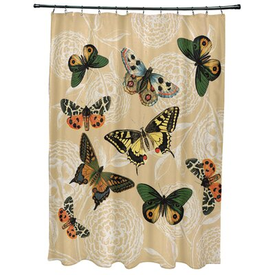 Swan Valley Antique Butterflies Shower Curtain Color: Gold