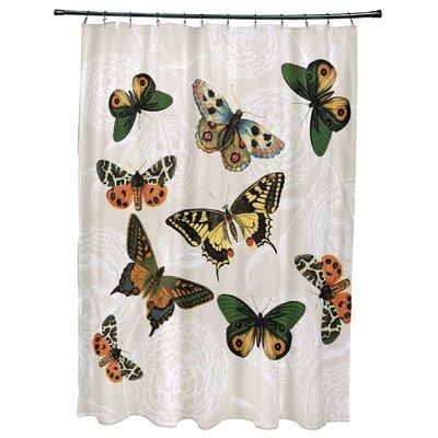 Swan Valley Antique Butterflies Shower Curtain Color: Cream