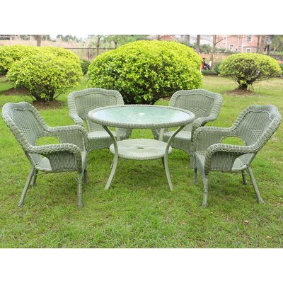 Ovalle 5 Piece Dining Set Color: Antique Moss