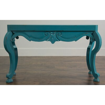 Semmes Console Table Color: Blue Distressed