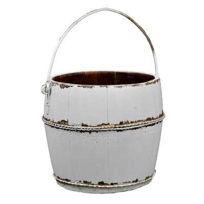 Vintage Round Kitchen Bucket with Iron Handle Color: White