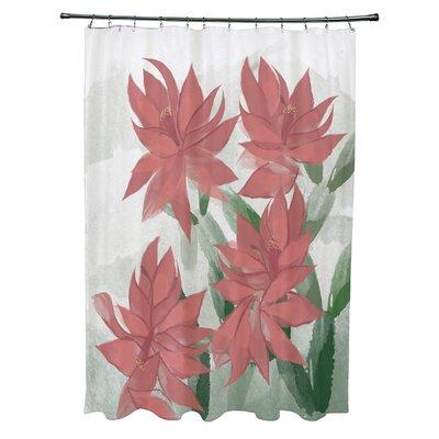 Amanda Christmas Cactus Floral Print Shower Curtain Color: Coral