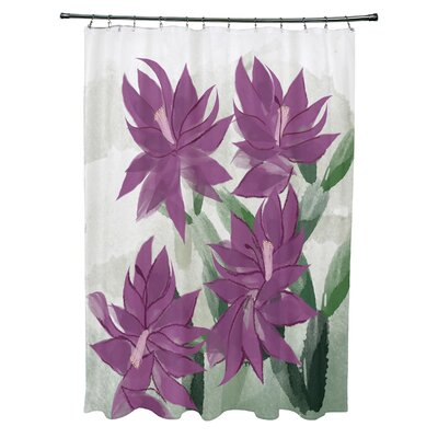 Amanda Christmas Cactus Floral Print Shower Curtain Color: Purple