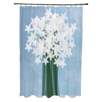 Amanda Paperwhites Floral Print Shower Curtain Color: Light Blue