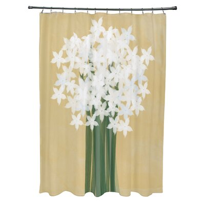 Amanda Paperwhites Floral Print Shower Curtain Color: Gold