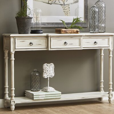 Preusser 3 Drawer Console Table Color: White