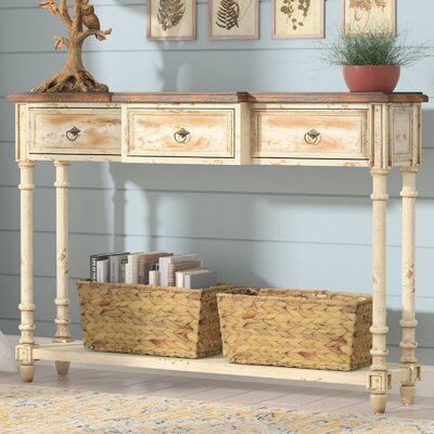 Preusser 3 Drawer Console Table Color: Off White/Brown