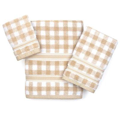 Danieli Gingham 3 Piece 100% Cotton Towel Set Color: Sesame/White