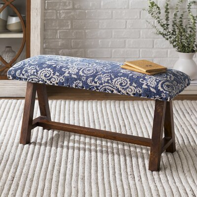 Carlea Upholstered Bench Upholstery: Blue