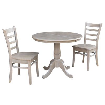 Petra Traditional Extendable Pedestal 3 Piece Bistro Set Color: Washed Gray Taupe