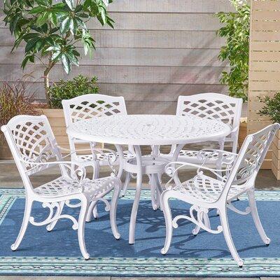 Hephaestus Outdoor Cast Aluminum 5 Piece Dining Set