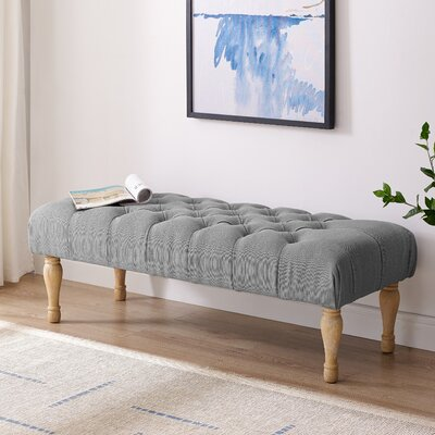 Puente Upholstered Button Tufted Turned Leg Bench Color: Gray