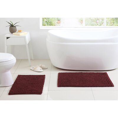 Munsch Chenille Bath Rug Color: Red