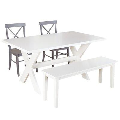 Medulla 4 Piece Dining Set Finish: White / Grey