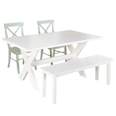 Medulla 4 Piece Dining Set Finish: White / Mint
