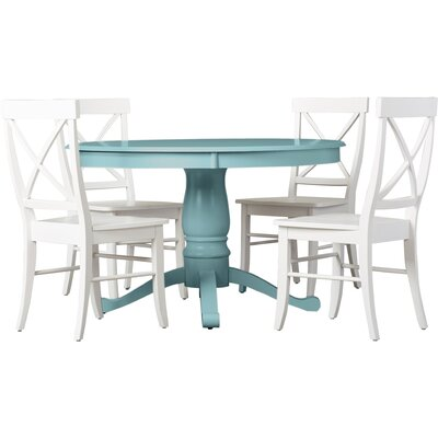Stock Island 5 Piece Pedestal Dining Set Chair Color: White, Table Color: Blue