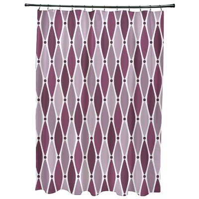 Cedarville Wavy Geometric Print Shower Curtain with 12 Button Holes Color: Purple