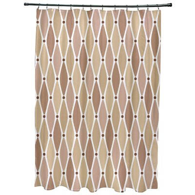 Cedarville Wavy Geometric Print Shower Curtain with 12 Button Holes Color: Taupe