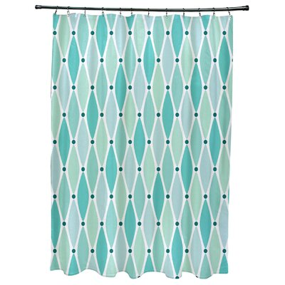 Cedarville Wavy Geometric Print Shower Curtain with 12 Button Holes Color: Aqua
