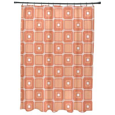Cedarville Square Geometric Print Shower Curtain Color: Coral