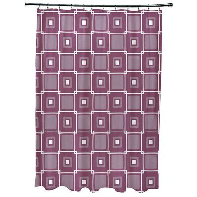 Cedarville Square Geometric Print Shower Curtain Color: Purple