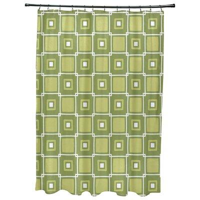 Cedarville Square Geometric Print Shower Curtain Color: Green