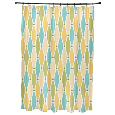 Cedarville Wavy Geometric Print Shower Curtain Color: Yellow