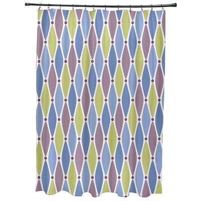 Cedarville Wavy Geometric Print Shower Curtain Color: Blue