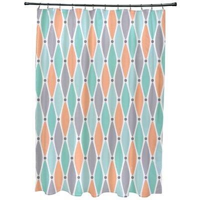Cedarville Wavy Geometric Print Shower Curtain Color: Aqua