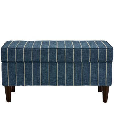 Evalyn Traditional Cotton Upholstered Storage Bench Color: Indigo