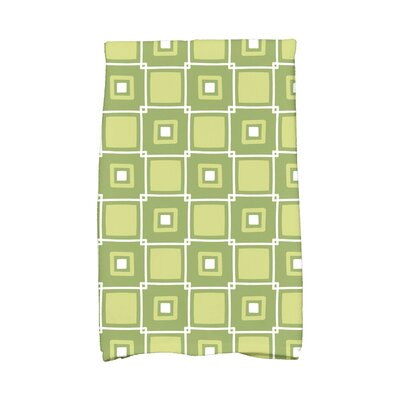 Square Geometric Print Hand Towel Color: Green