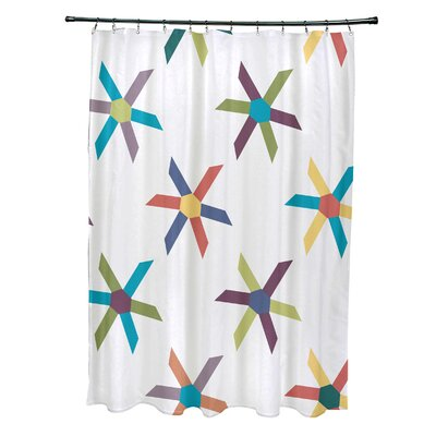 Cedarville Polyester Pinwheel Geometric Shower Curtain Color: Turquoise