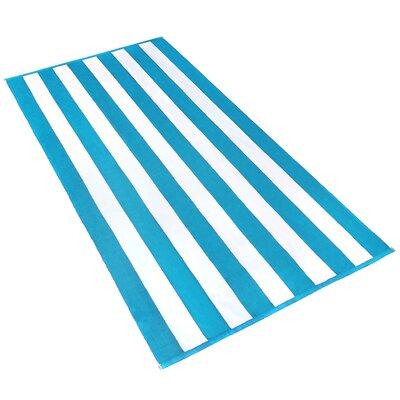 Kelsch 100% Cotton Beach Towel Color: Turquoise / White