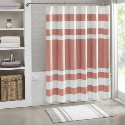 """Malory Shower Curtain Size: 72"""" W x 72"""" H, Color: Coral"""