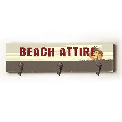 Beach Attire Solid Wood Wall Mounted Coat Rack