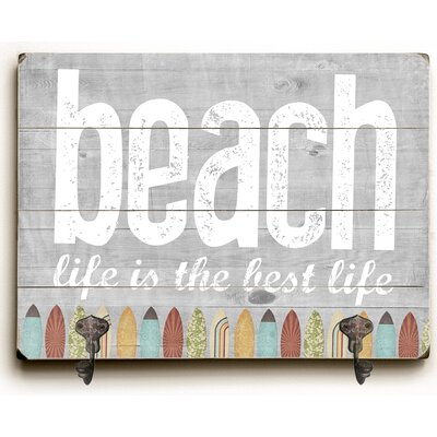 Beach Planked Wood Wall Mounted Coat Rack