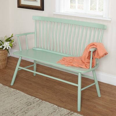 Annie Rubber Wood Bench Color: Mint