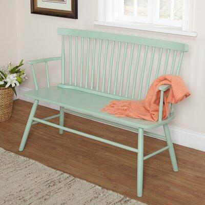 Annie Rubber Wood Bench Color: Mint