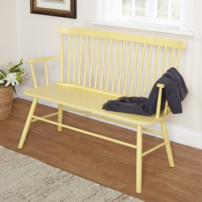 Annie Rubber Wood Bench Color: Yellow