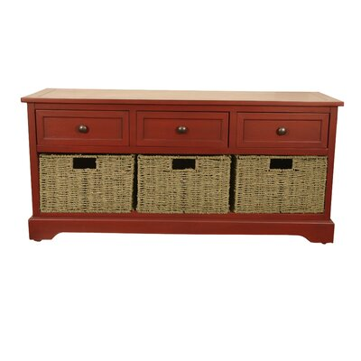 Ardina Wood Storage Bench Color: Antique Red