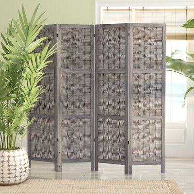Madalynn 4 Panel Room Divider Color: Gray
