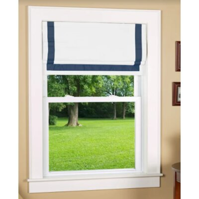 """Indoor Cordless Roman Shade Size: 30"""" W x 64"""" L, Color: Navy/White"""