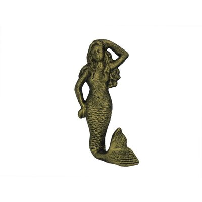 """Zaniyah 6"""" Rustic Light Blue Whitewashed Cast Iron Mermaid Wall Hook Color: Rustic Gold"""