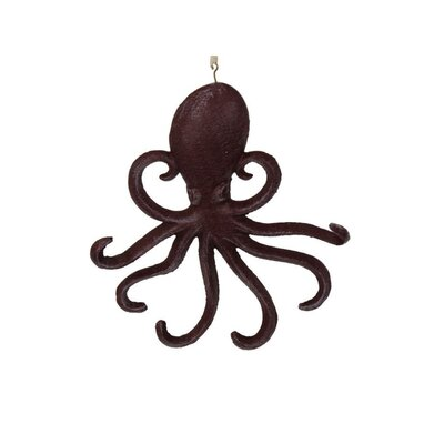 "Belapais 7"" Cast Iron Wall Mounted Octopus Hook Color: Rustic Red"